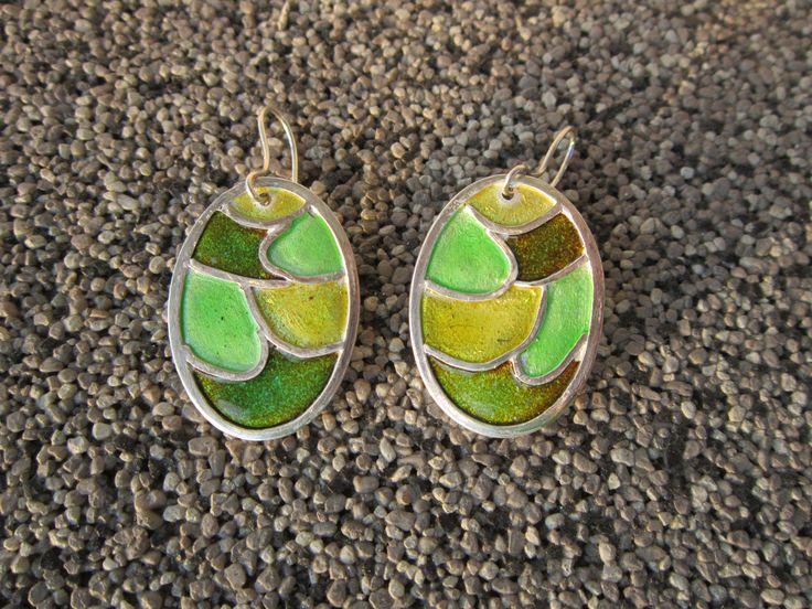 Earrings, enamel, Art Clay Silver, by Cris Briz