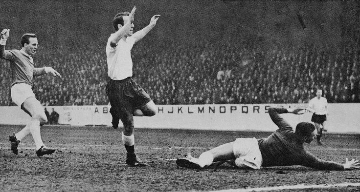 31st March 1962. Tottenham Hotspur inside forward Jimmy Greaves opens the scoring against Manchester United in the FA Cup Semi Final, at Hillsborough.