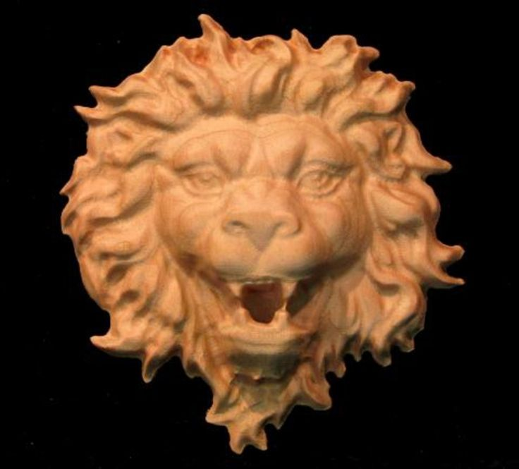 Wood Carved Lion Onlay - Regal Lion