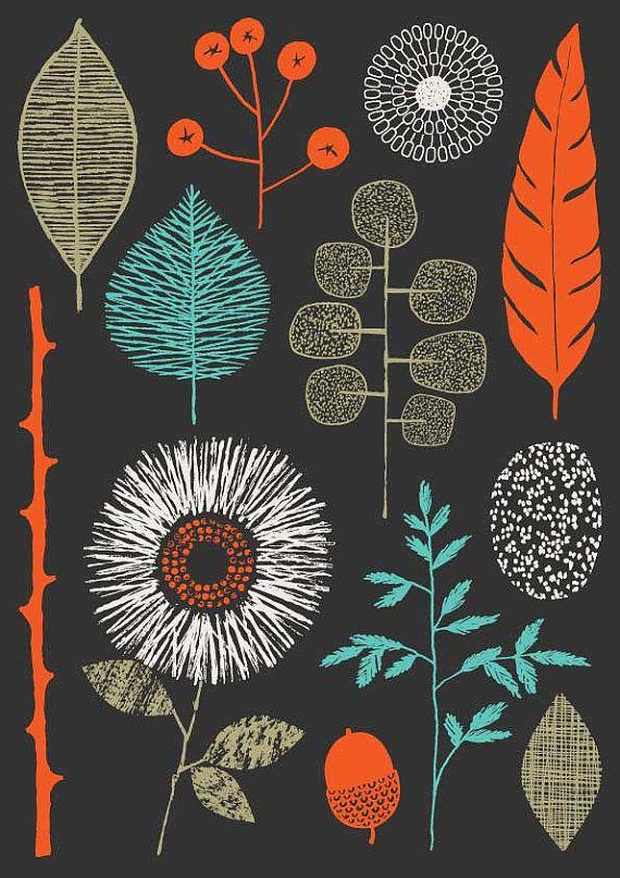 #black #orange #lightblue #colors #trees #leaves #flowers #stamp #stamps #autumn #stampa