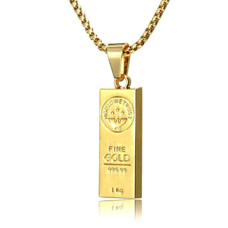 18K Gold Bar Hip Pop Men Chain Necklace Jewelry at Banggood
