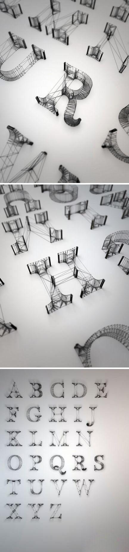 British designer Dan Hoopert design lines of letters in 3d.