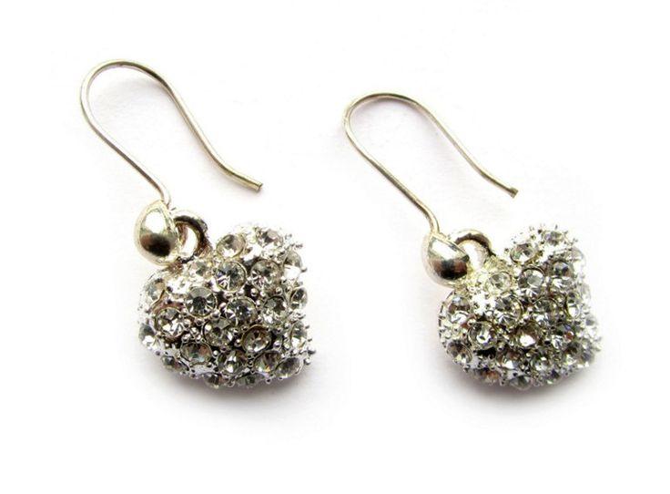 Sterling zilveren oorbellen met strass hart