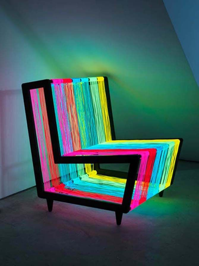 "Pin 8: This is a ""disco chair"" designed by Kiwi & Pow in 2010. It was there way of taking simple silhouette and attaching a ""feel"" towards it. They wanted to make it GROOVY and did so by including 200 linear meters of electroluminescent wire. I becomes neon rainbow when powered. I choose it because I thought it was unique and I never seen something like this. It's a strange was of adding color but it does work and gives off that modern disco feel to any room."