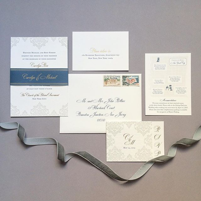 Shared a closeup of this one before, but here is the whole lovely suite, complete with a custom map and our signature reply/event card combination set! We dreamt it up when one of our clients wanted to simplify her suite and it's become one of our most popular designs! #fourteenforty #letterpress #modern #invitation #wedding #custom #bespoke #goldfoil #script #bellyband #vintage #stationery