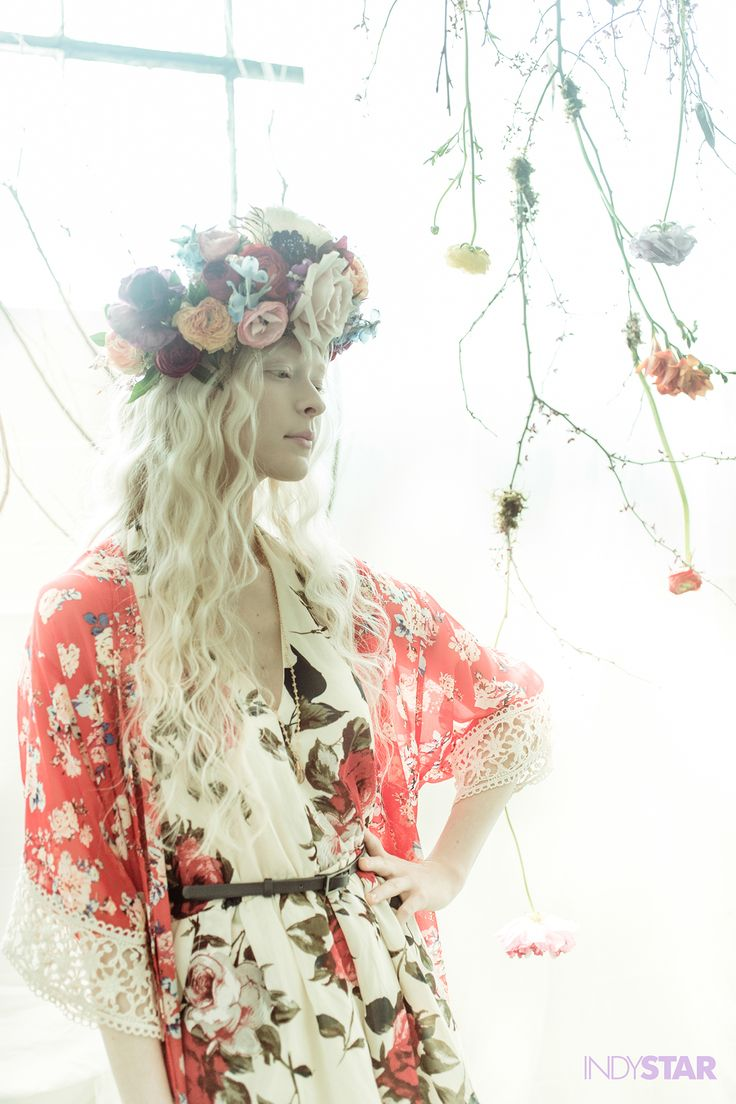 Floral Crown, bold floral pattern, spring, fashion, art, wedding, bridal, jumper, kimono, flowers, dress, bunny, easter, dress, photography, The Indianapolis Star, Red Rocket Photo, rustic, rabbit, albino, head dress, floral, flowers, branches, sandals, hippy, boho, chic, wellies, tree, florist, makeup, hair, Birkenstocks, black and white, natural, light, nature, beauty, ambient light, rustic,  Photo by Michelle Pemberton / The Indianapolis Star / Red Rocket Photo