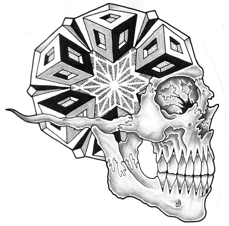 Image Detail For -Geometric Side View Skull By ~JonToogood
