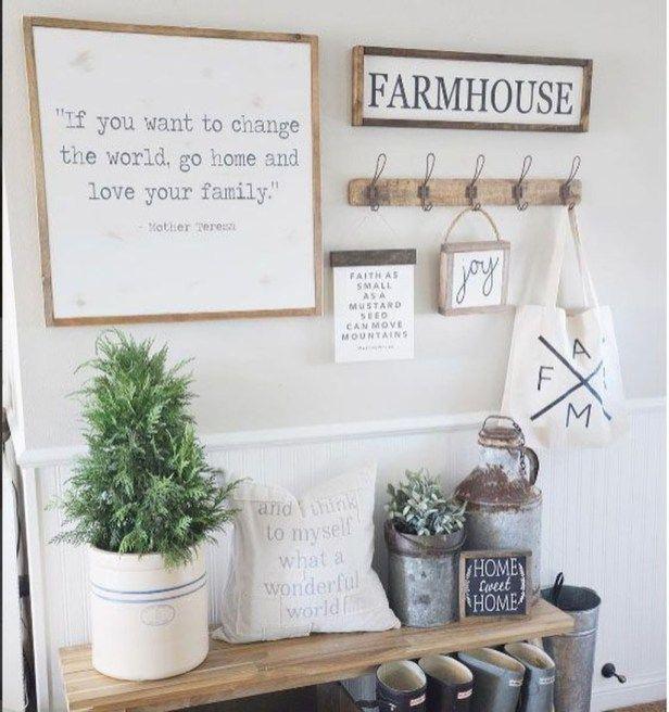 Totally Stunning Farmhouse Wall Decor Ideas 36 Entryway Inspiration Farmhouse Wall Decor Foyer Decorating