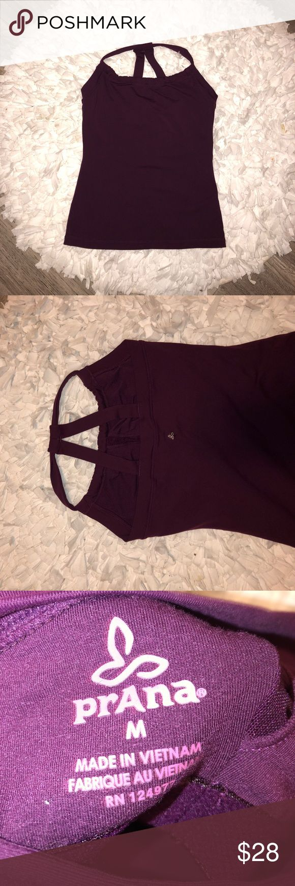 [prAna] Purple Athletic Tank With Built in Bra Deep purple strappy tank top by prAna. Built in bra and super soft material. Size medium Prana Tops Tank Tops