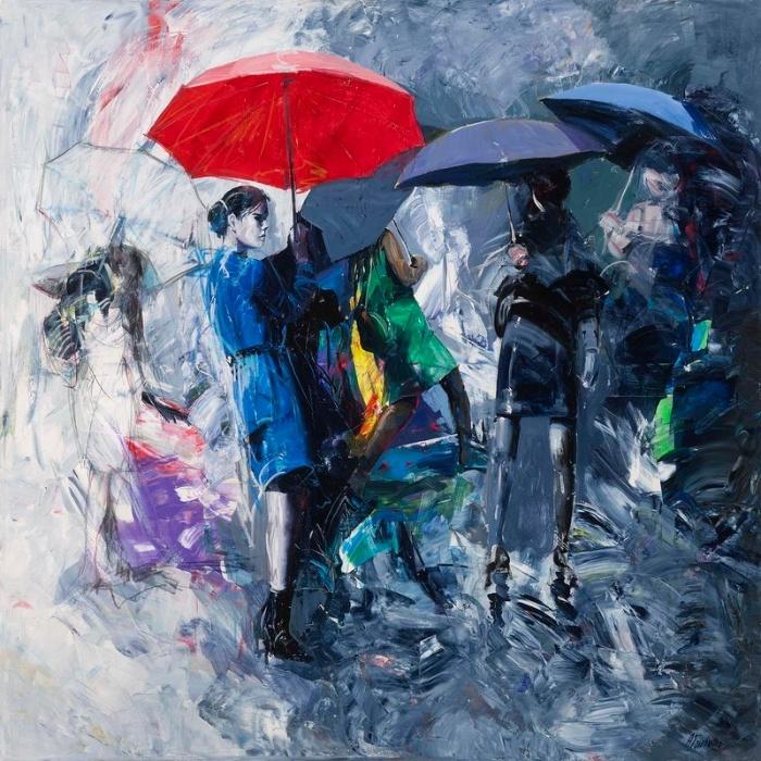 [:it]Ombrello rosso, 140x140 cm, acrilico su tela [:en]Red umbrella, 55,1x55,1 inches, acrylic on canvas
