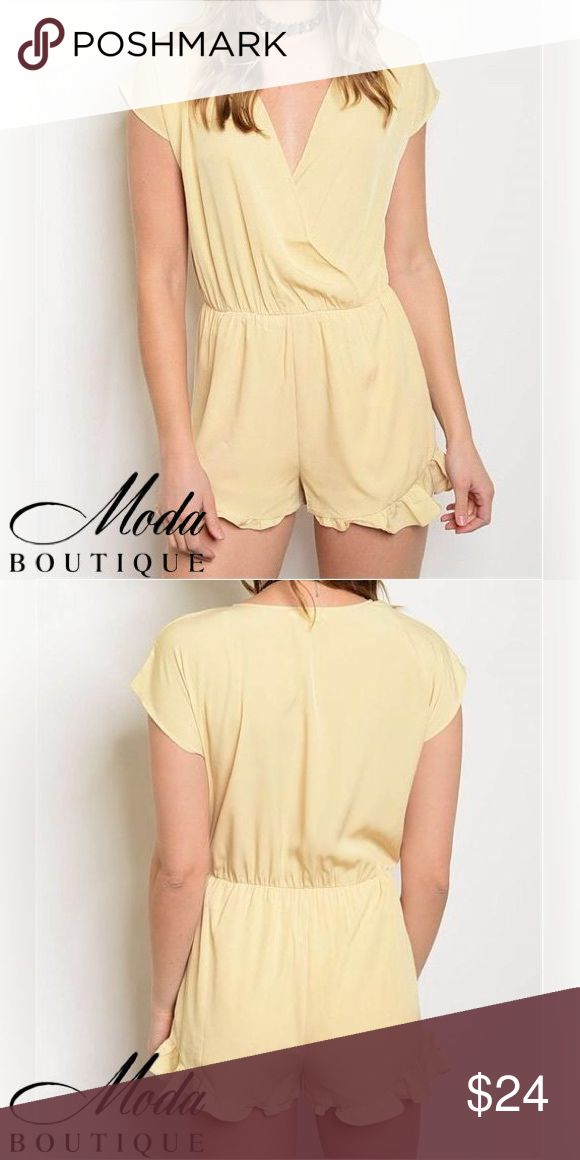 Light Yellow 'Alexa' Ruffle Romper Light Yellow 'Alexa' Ruffle Romper Color: Light Yellow Vneck short sleeve with smock waist and ruffled bottom hem on leg openings Model wearing a small – Fits True to Size Material: 100% Polyester Notes: These are quality garments that I sell in my boutique and they're not off a Chinese website! Free People Anthropologie Urban Outfitters Madewell Modabyboutique Moda Boutique Moda SF SFmoda wholesale @wholesales boutique clothing MODA Pants Jumpsuits…