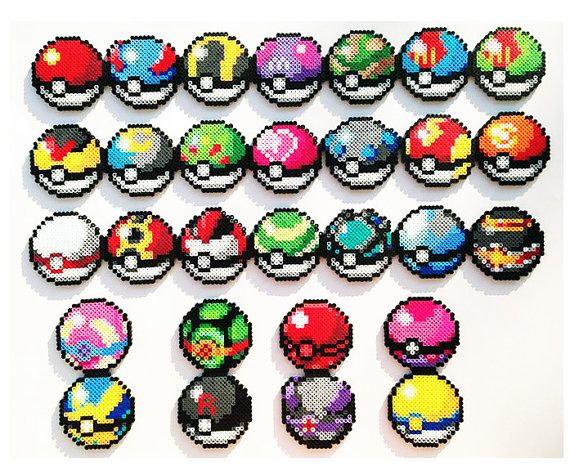Pokemon Perler Sprites  Choose 1 Pokeball by ShowMeYourBits