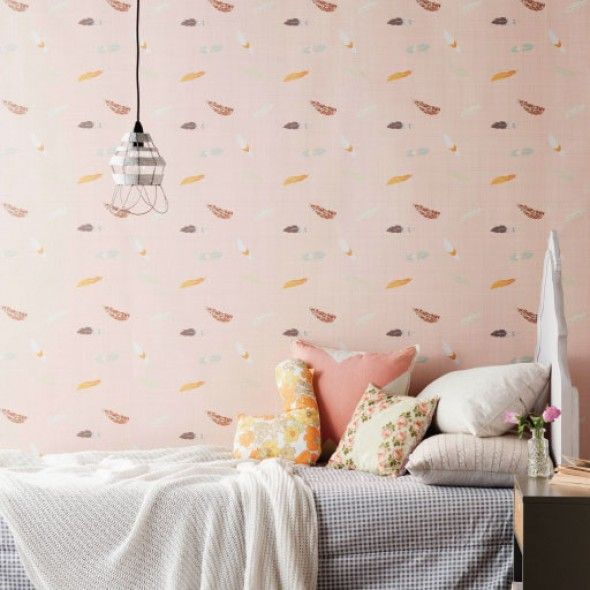 Love Mae Wall Paper - Floating Feathers PINK  Image styled by Vanessa Colyer Tay