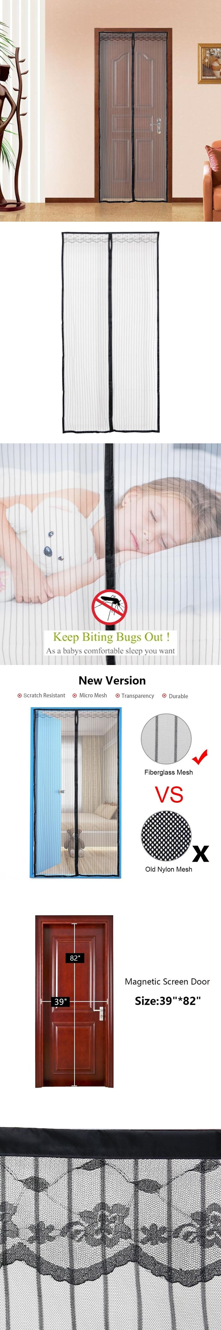 Adeeing Upgraded 100*210cm Hands-Free Magnetic Screen Door, Anti Mosquito Net Curtains, Fly Insect Stopping Mesh Screen
