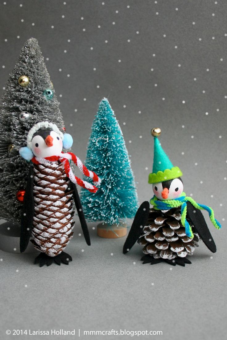 When I saw the MS pinecone penguins  I was charmed and then determined to make my own version. I didn't follow their tutorial becau...