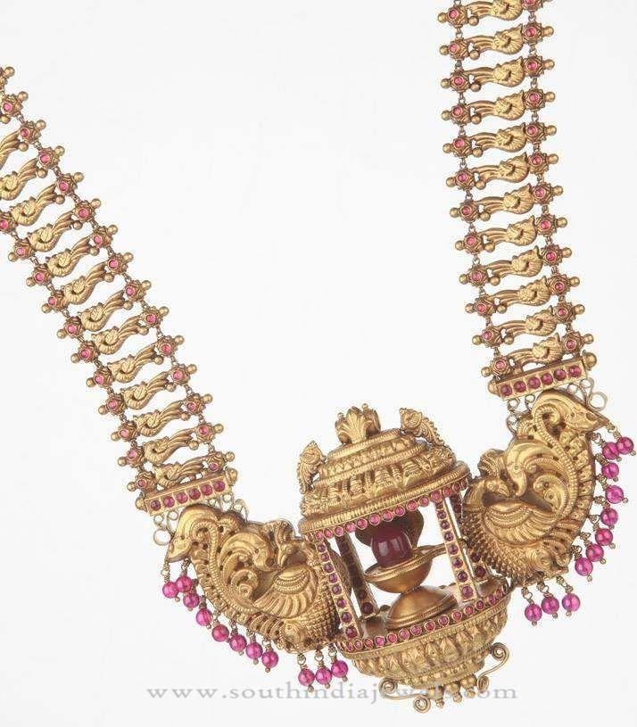 Heavy Gold Haram Designs, 22K Gold Heavy Long Necklace Designs, Heavy Temple Haram Designs.
