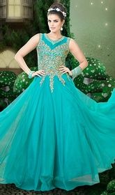 Turquoise Color Shaded Embroidered Net Gown  #muslimbridalgowns #indiansuitsdesigner Make that special occasion a memorable one in this turquoise color shaded embroidered net gown. The lace and resham work seems chic and best for any event.  USD $ 132 (Around £ 91 & Euro 100)