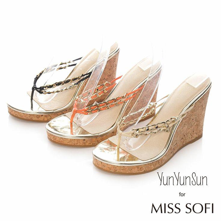 MISS SOFI x 孫芸芸-Aimee羊皮雙鍊條夾腳楔型跟涼鞋-橘 - Yahoo!奇摩購物中心