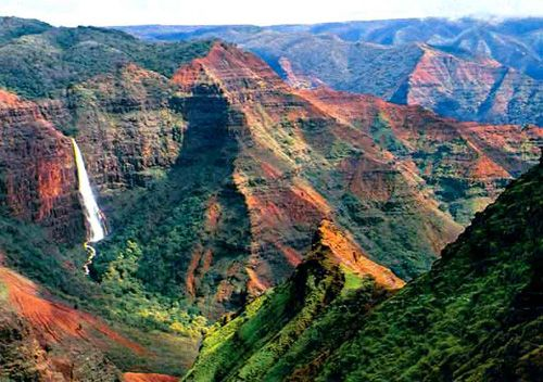 Most people don't know that the island of Kauai is the home to Waimea Canyon.  Many people think it's actually more majestic than the Grand Canyon because it's covered with lush growth.  It's astonishing and this alone is worth the trip to Hawaii.  (Although there are LOTS of great reasons to head to Hawaii.)