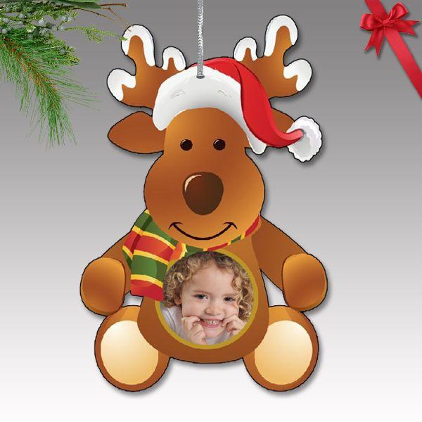 Fényképes karácsonyfa dísz - műanyag, rénszarvas