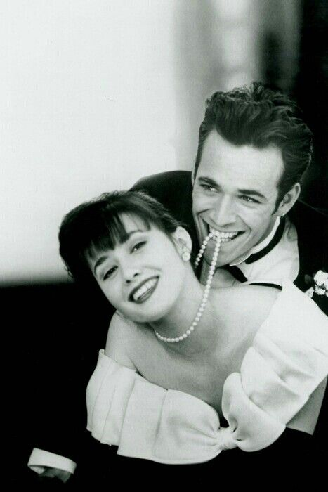 Luke Perry and Shannen Doherty, (Spring Dance scene) as Dylan McKay and Brenda Walsh in Beverly Hills 90210.