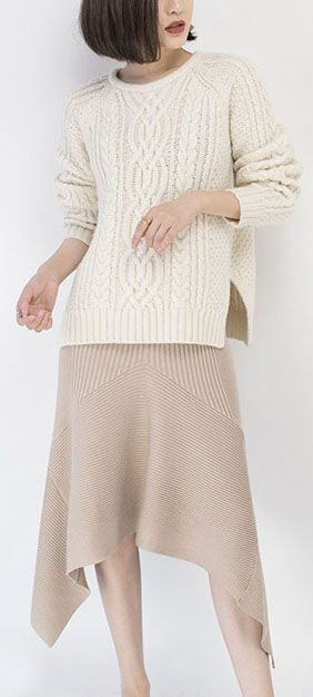 7bd1423528 cozy white sweater fall fashion O neck side open knit sweat tops Elegant  cable knit fall blouse