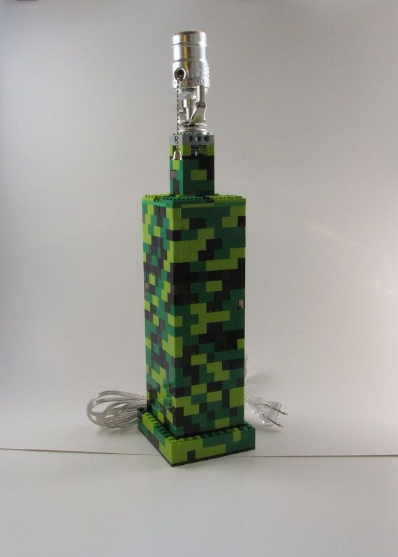 Handmade Lamp in Shades of Green and Black for by brickablocks