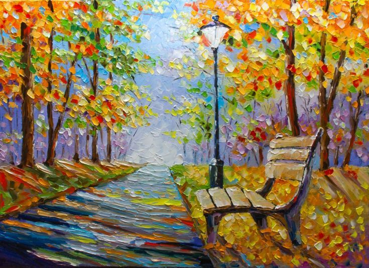 ARTFINDER: Bench in the park by Ihor Bychkivskyy - Oil on canvas, 50x70 cm, 2016 Signed, unframed (but can be hung) original from the studio of the painter
