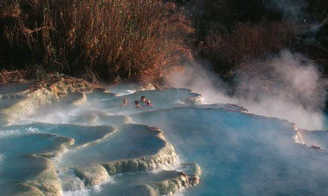 Bubbling waters at the Saturnia hot springs in Tuscany