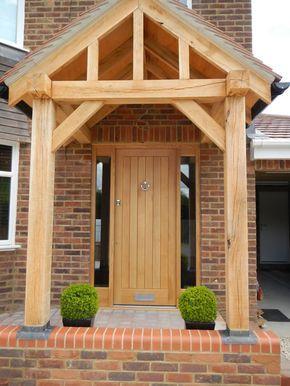 An oak front door with oak porch