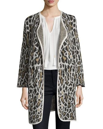 Berit+Leopard-Print+Jacquard+Open-Front+Jacket+by+Joie+at+Bergdorf+Goodman.