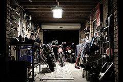 808 (ljblk) Tags: canon honda garage shed workshop motorcycle suzuki custom vtr250 xr600 40d gs125