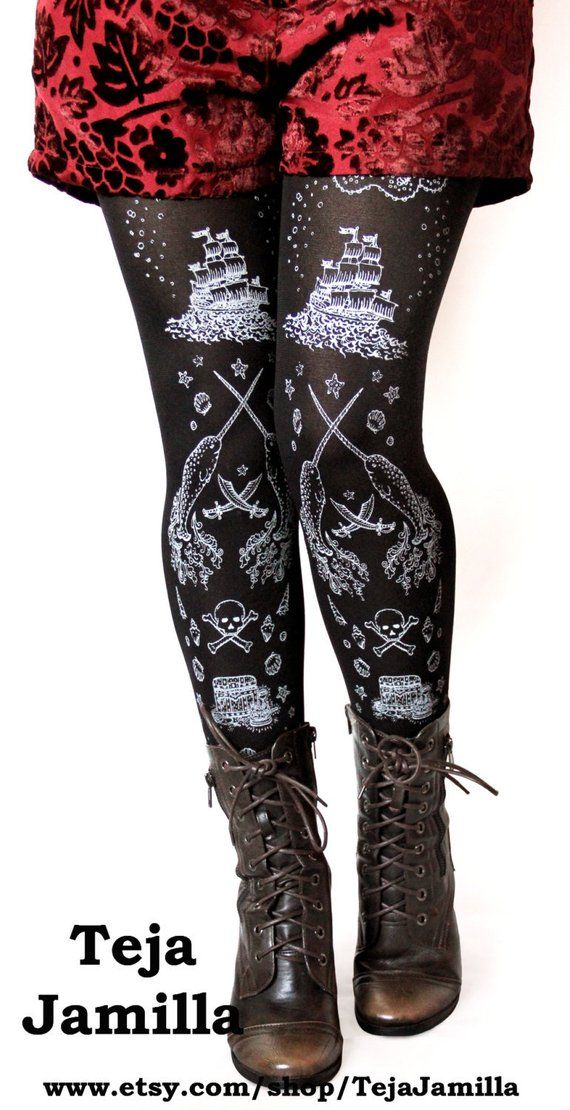 91cd2c7c8e5 Sailor Lolita Narwhal Tights Silver on Black All Sizes Tattoo ...