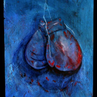 """""""Hanging up the Gloves"""" Acrylic on Canvas"""