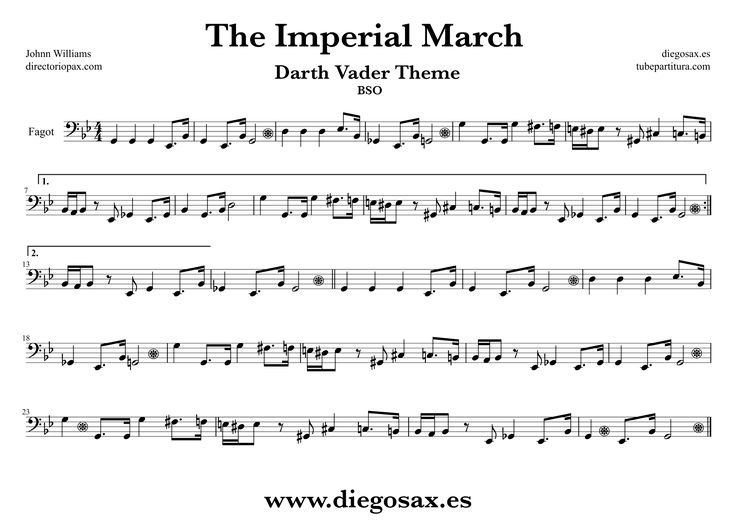 diegosax: The Imperial march easy Johnn Williams score for Flute, alto saxophone, trumpet, clarinet, violin, trombone, tenor sax and flute transverse flute, viola, cello, oboe, tuba, flugelhorn, bassoon, baritone, soprano sax, Baritone ... to play with The Imperial March music Sheets Sheet Music Star Wars Music scores