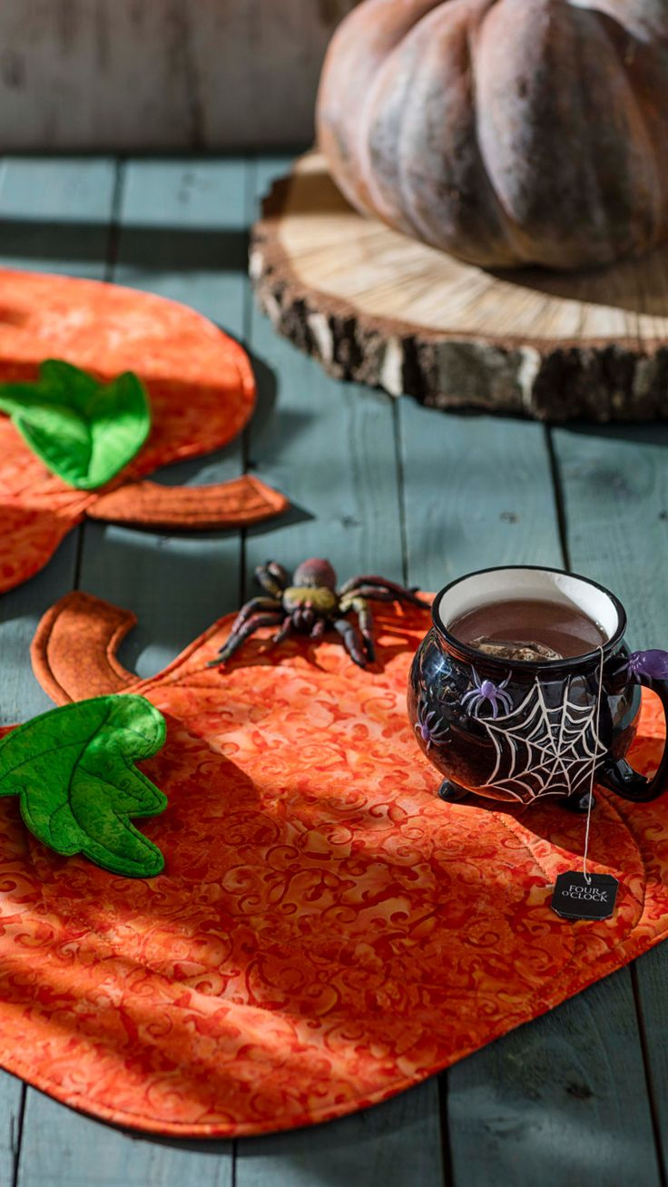 Tea Cosy Pumpkin Pace Mat Witch Spider Devilish Halloween by RoyalHandicrafts on Etsy