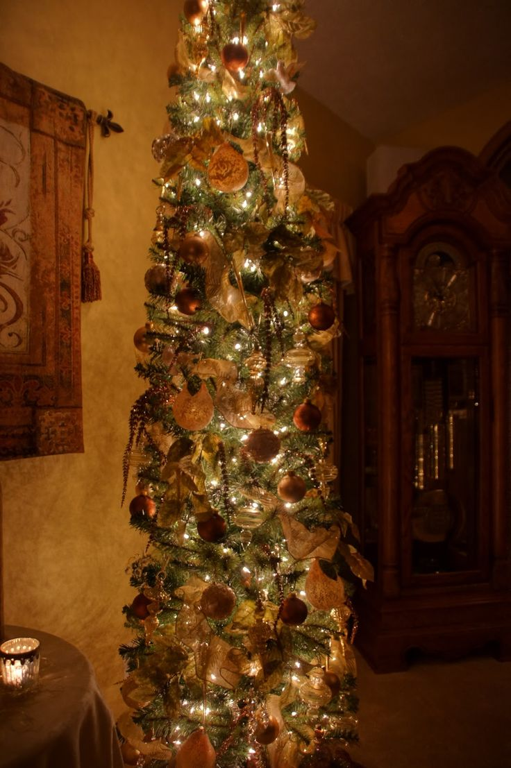 decorated+skinny+christmas+trees | Our tree is a tall skinny pencil tree- it fits eas ily into the room.