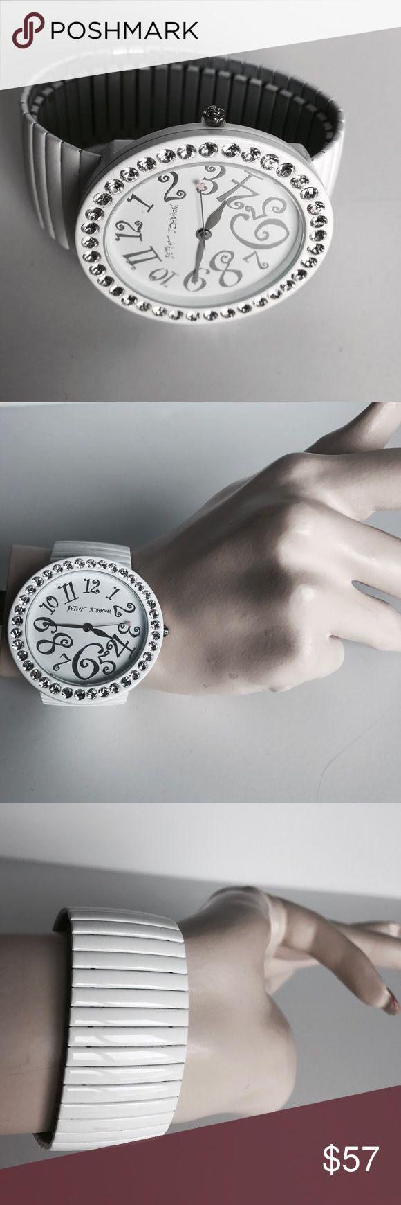 Betsey Johnson watch White titanium stretch link oversized watch with rhinestone detail. Betsey Johnson Accessories Watches