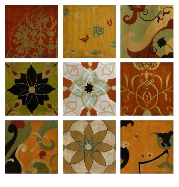 """Paragould Wall Deco -  Rich warm tones are captured in the Paragould wall décor, a set of nine panels with Spanish influenced medallion and patterns. 85% Canvas, 15% fir. 12""""h x 12""""w."""
