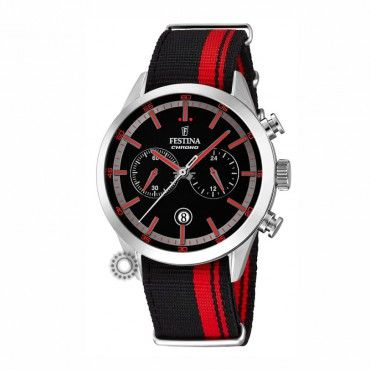 F16827/4 Ανδρικό σπορ quartz ρολόι FESTINA χρονογράφος, με μαύρο καντράν & μαύρο-κόκκινο λουρί νάτο | Ανδρικά ρολόγια FESTINA ΤΣΑΛΔΑΡΗΣ στο Χαλάνδρι #Festina #χρονογραφος #μαυρο #λουρι #ρολοι