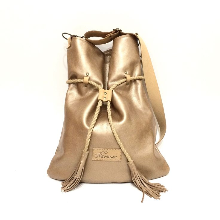 Goldish leather Karmacsi Totebag/backpack