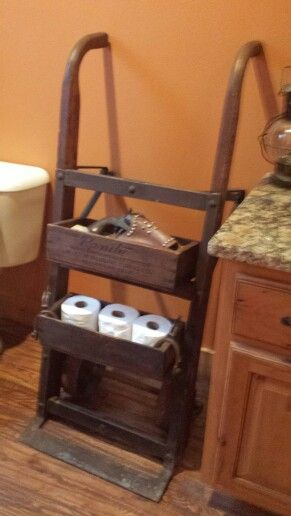 Two wheel dolly = cool bathroom shelves