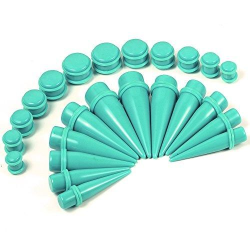 BodyJ4You Gauges Kit 24 Pieces Tapers and Plugs 00G-20mm Turquoise with Matching O-Ring Ear Stretching Set