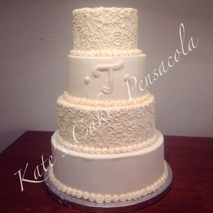 All Buttercream Wedding Cake Pensacola Florida Kates Cakes
