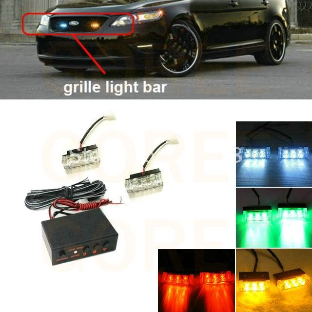 12.00$  Buy now - 2x3 LED Green White Amber strobe light led grille flash light front grill Flashing Blinking light for golf 7 lada seat leon  #buyininternet