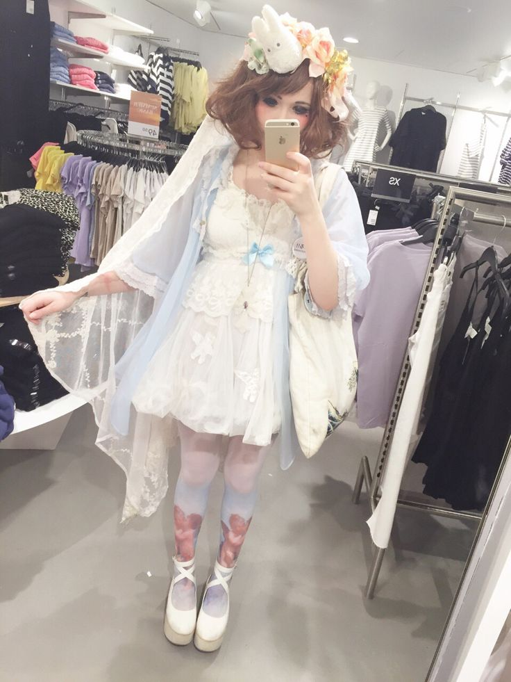 Cult party kei, kawaii headband, light blue and off white outfit