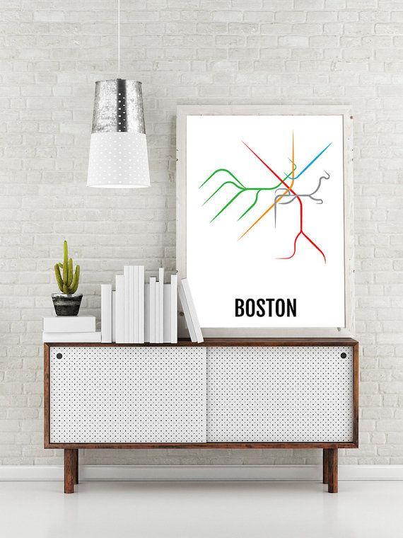 Boston Subway Map Print - Boston T Transit Map - Poster, Boyfriend Gift, Husband Gift, Wall Art, Art, Boston Gift, Boston Lovers, Dad Gift