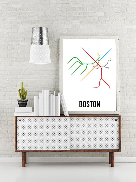 Boston Subway Map Print - Boston T Transit Map - Poster, Boyfriend Gift, Husband Gift, Wall Art, Art, Boston Gift, Boston Lovers, Dad Gift