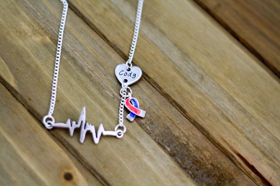 CHD Awareness Heartbeat with Custom Heart Necklace by DesignsbyMRS