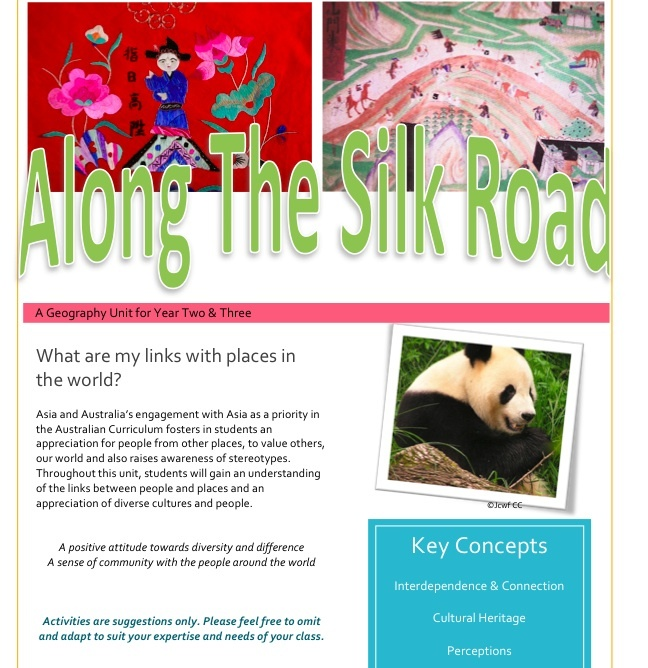 Along the Silk Road. An inquiry unit on China, including English and Geography Australian Curriculum links. Focuses on connections between China and Australia. Includes complimenting powerpoint, 11 activites and a powerpoint.